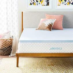 "Linenspa 2-3"" Gel Infused Memory Foam Mattress Topper Twin F"
