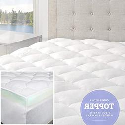 eLuxurySupply Bamboo Mattress Topper with Fitted Skirt - Dou