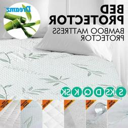 Bamboo Terry Cotton Mattress Cover Fitted Bed Protector Pad