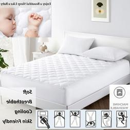 Puredown Cooling Bedding Quilted Fitted Mattress Pad Topper