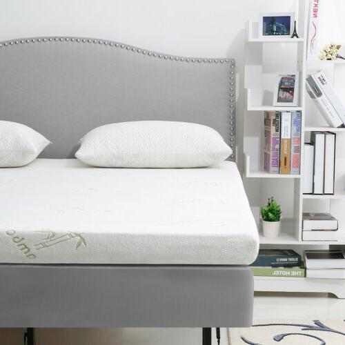 """2"""" 3"""" Gel-Infused Memory Foam Mattress Topper with Bamboo Co"""