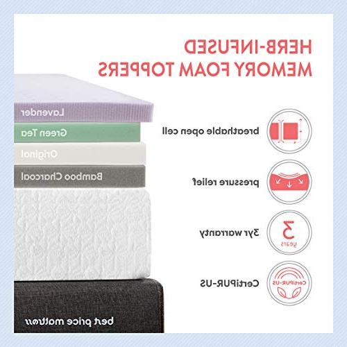 """Best Mattress XL, 2.5"""" Memory Topper Certipur-US Ventilated Twin Extra Long Size"""