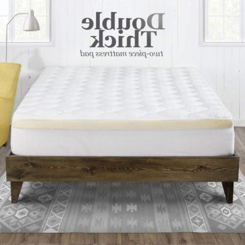 eLuxurySupply Mattress Topper with Fitted Double Thick Extra 2