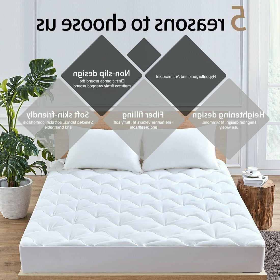 Queen Size Pad Cover Snow Pillow Topper Bed