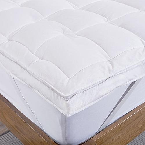 puredown Natural Goose Down Feather Mattress Pad Bed Topper 100% Cotton Twin Size