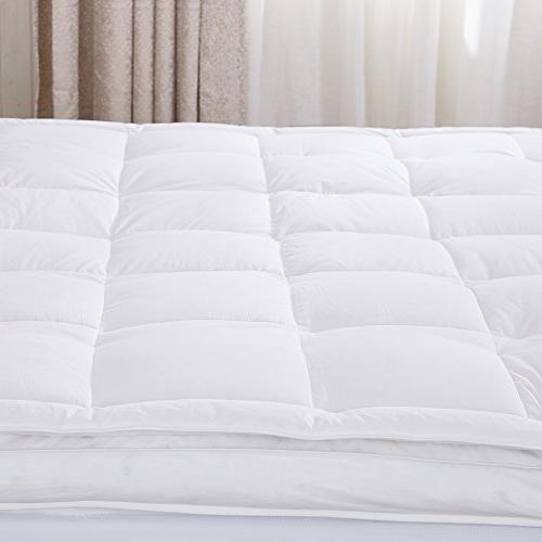puredown Premium Goose Down Feather Overfilled Mattress Pad 100% Fabric White Twin Size