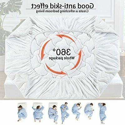 Queen Mattress Pad Cover Snow Down Pillow Luxury Bed