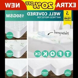 Mattress Cover/Protector Bed Bug Waterproof Cotton Topper Zi