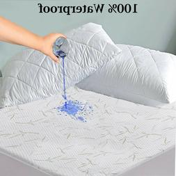 Waterproof Bamboo Mattress Pad Protector Quilted Hypoallerge