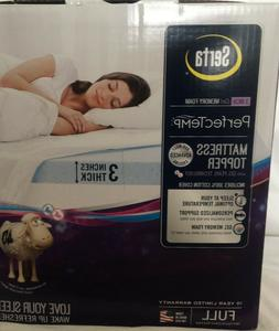 "SERTA PerfecTemp Mattress Topper 3"" Gel Memory Foam w/ Cover"