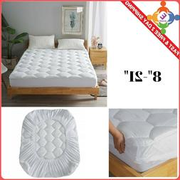 Queen Size Mattress Pad Cover Luxury Foam Bed Pillow Top Thi