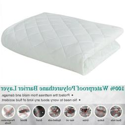 "Quilted Fitted Mattress Bed Pad Cover Stretches Up To 18"" De"