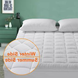 Reversible Mattress Pad Pillow Top Fitted Down Alternative T
