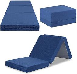 Supportive Memory Foam Topper Tri Folding Removable Cover w/